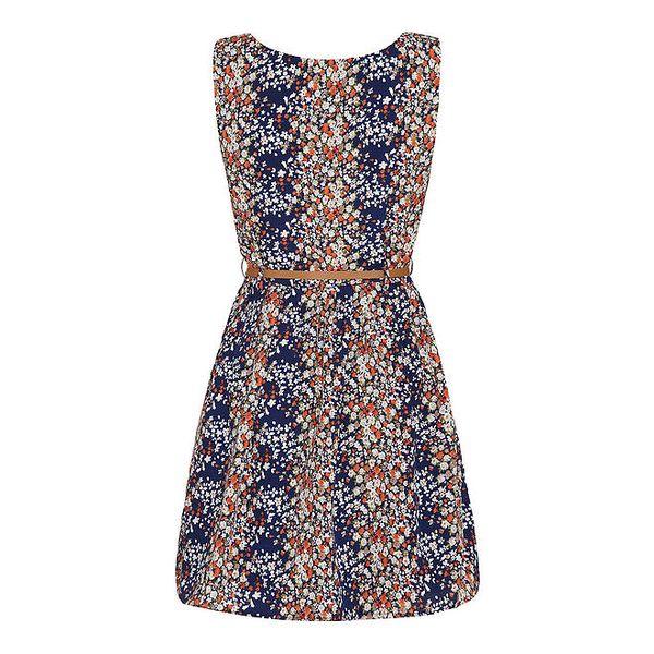 Dámské modré květinové šaty Yumi