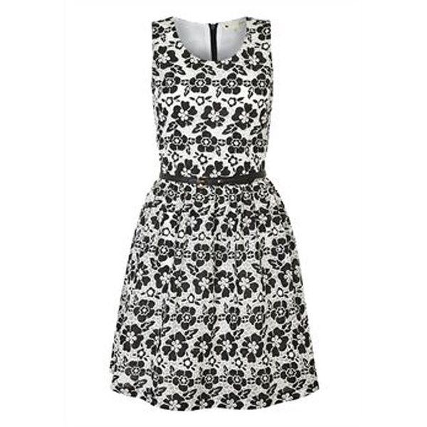 Dámské černo-bílé květované šaty Yumi