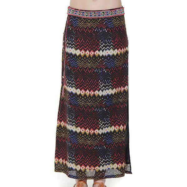 Dámská dlouhá černá sukně s barevnými vzory Peace&Love