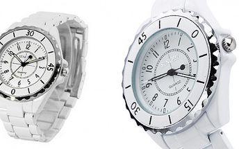 Luxusní hodinky SINOBI v bílé barvě s kamínky a bílým kovovým řemínkem, které jsou krásným doplňkem k šatům do divadla, nebo jinou společenskou událost!