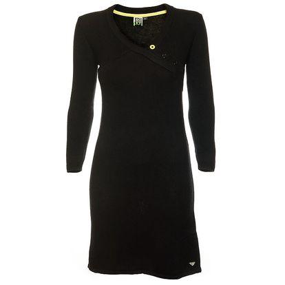 Dámské černé pleteninové šaty se zavinovacím efektem Roxy