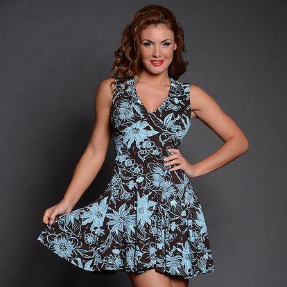 Dámské černo-modré šaty s květinovým vzorem Simonette