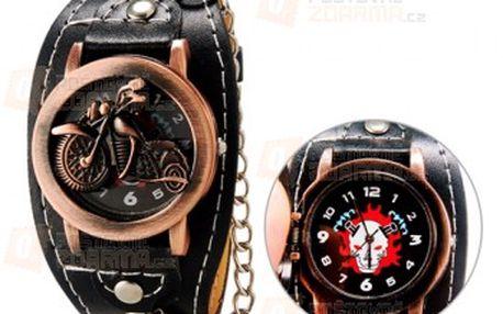 Zavírací hodinky s motivem motorky a řetězem a poštovné ZDARMA! - 19111310