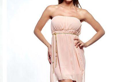Dámské světle růžové šaty se zlatým řetízkem Trois Quatorze