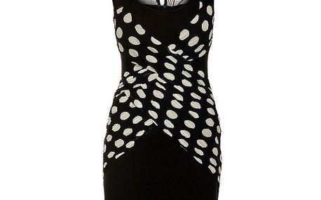 Dámské černé šaty Lucy Paris s bílými puntíky