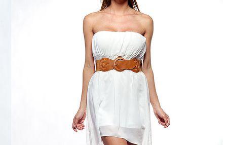 Dámské bílé korzetové šaty s páskem Trois Quatorze