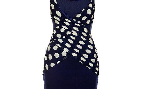 Dámské tmavě modré šaty Lucy Paris s bílými puntíky