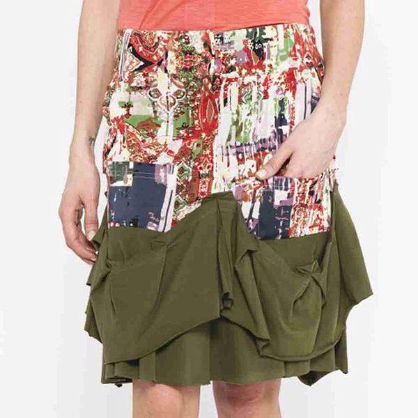 Dámská vzorovaná sukně se zelenými volánky Mahal