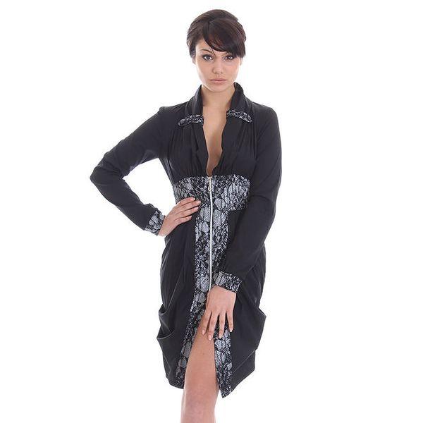 Dámské černé šaty na zip SforStyle