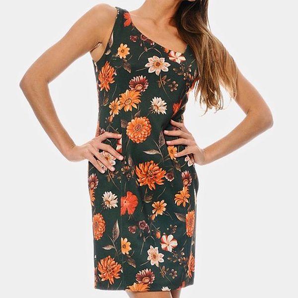 Dámské zelené květované šaty ODM Fashion
