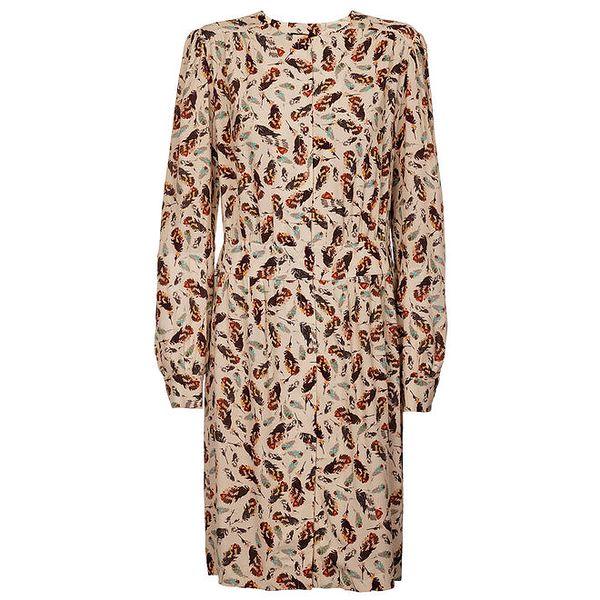 Dámské krémové šaty Pietro Filipi s potiskem ptačích per