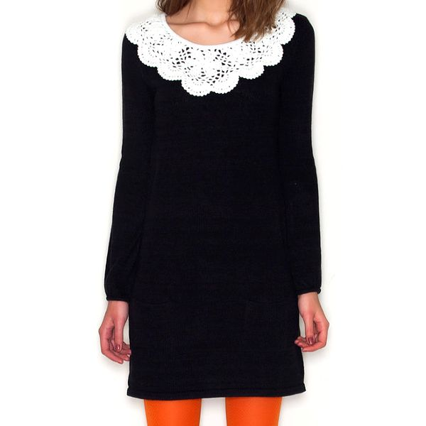 Dámské černé šaty s bílým límečkem Pepa Loves