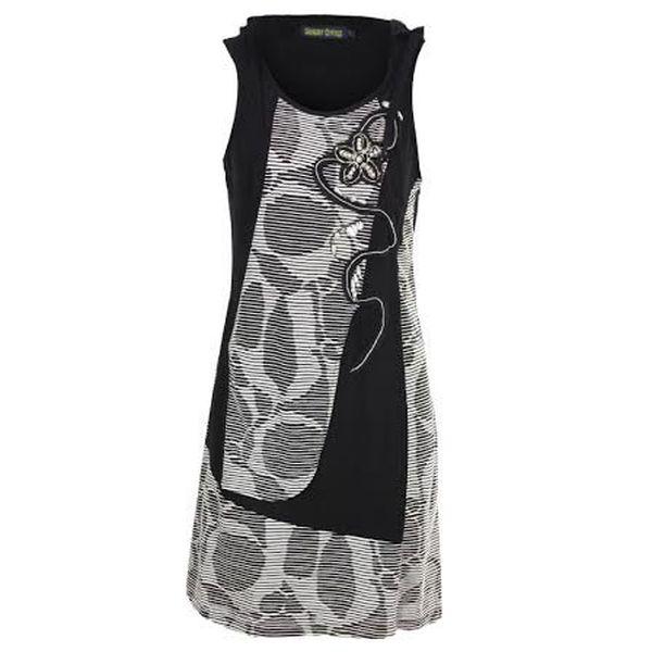 Dámské černé šaty s ozdobnými aplikacemi Sugar Crisp
