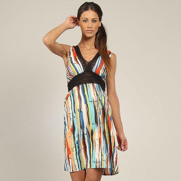 Dámské barevné šaty s krajkovým výstřihem Coline