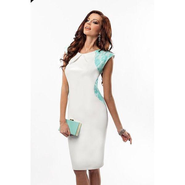 Dámské bílé šaty se zelenou krajkou Enny
