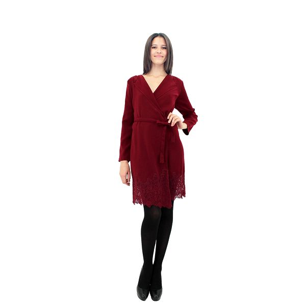 Dámske vínové zavinovacie šaty Miss June s čipkou