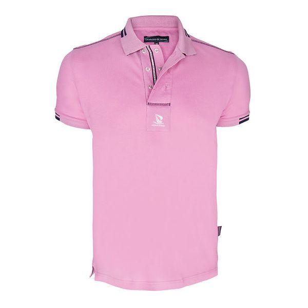 Pánské růžové polo triko s dvouřadým límečkem Giorgio di Mare