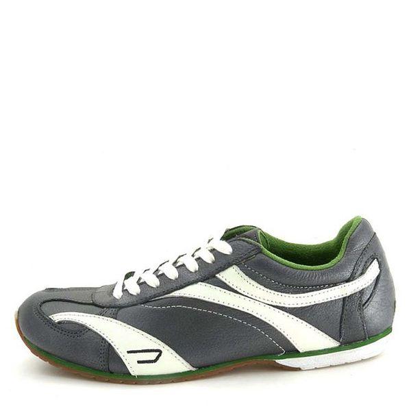 Dámské kožené tmavě šedé tenisky se zelenými prvky Diesel