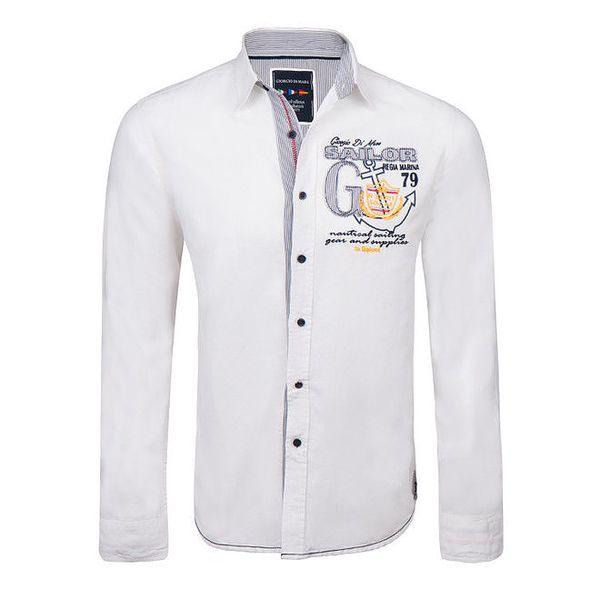 Pánská bílá košile s výšivkou Giorgio di Mare