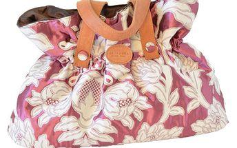 Dámská fuchsiová kabelka s bílými květinami Bellemarie
