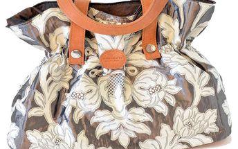 Dámská šedá kabelka s bílými květinami Bellemarie