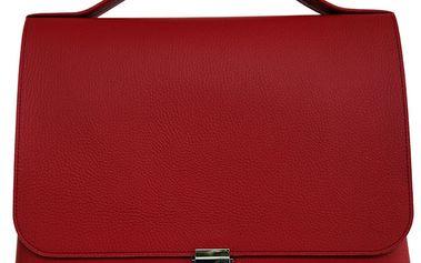 Dámské rudá obdélníková kožená kabelka Bellemarie