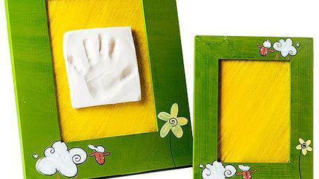 Sada pro otisk s ručně malovaným rámem + malý rámeček– barva zelená