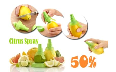 Báječných 59 Kč za praktického pomocníka při vařeni, pečení či míchání koktejlů. Citrus spray je rozprašovač, který lze nasadit na citrusy a můžete si užívat 100% přírodní šťávy s vitamíny.
