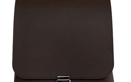 Dámská hnědá kožená kabelka se stříbrným zapínáním Bellemarie