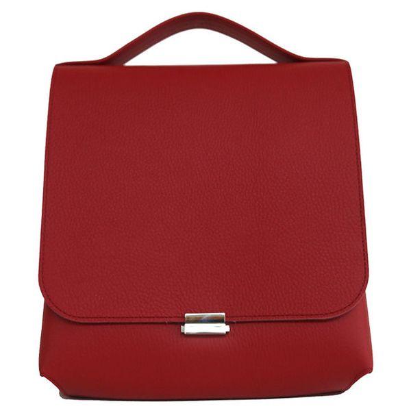 Dámská rudá kožená kabelka se stříbrným zapínáním Bellemarie