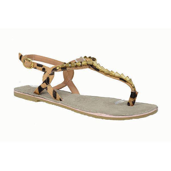 Dámské kožené leopardí sandálky se zlatými komponenty Bullboxer