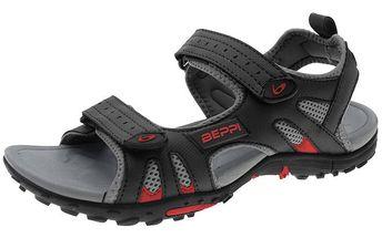 Pánske čierne sandále so suchymi zipsami Beppi