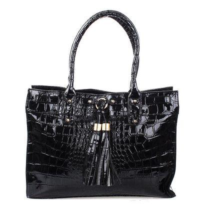 Dámská lesklá černá prostorná kabelka Mercucio s třásněmi
