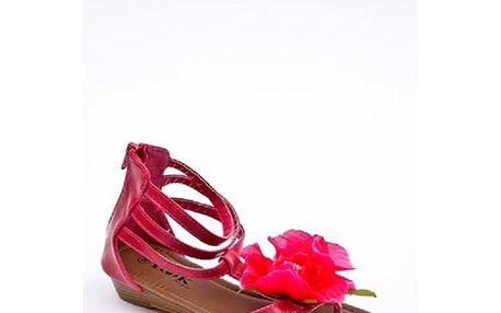 Dámské fuchsiové páskové sandálky s květinou Yook for you