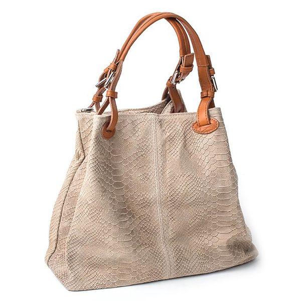 Dámská šedobéžová kožená kabelka Pelleteria