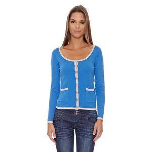 Dámský modrý svetr s bílým lemováním Assuili
