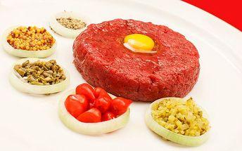 450g tatarský biftek v Mladé Boleslavi pro 4 - 5 osob s neomezeným počtem topinek