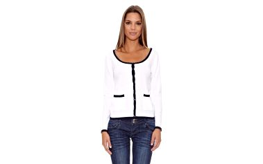 Dámský bílý svetr s černým lemováním Assuili