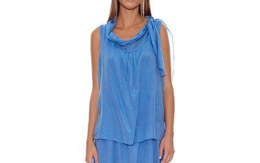 Dámské modré šaty se spadnutým límcem Assuili