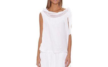 Dámské bílé šaty se spadnutým límcem Assuili