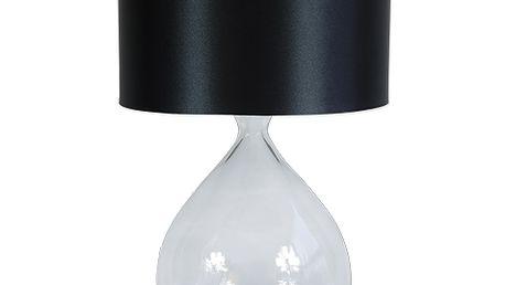 Moderní lampa s čirou skleněnou podstavou a černým saténouvým stínidlem. Svítidlo dodá vašemu interiéru velmi moderní vzhled. Žárovka 1x E27 max. 60W. Výška lampy: 49 cm, průměr stínidla: 30 cm.