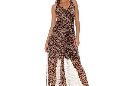 Dámské hnědé šaty s leopardím vzorem Assuili
