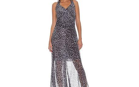 Dámské šedé šaty s leopardím vzorem Assuili