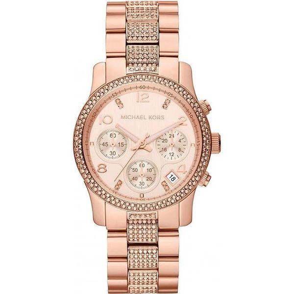 Dámské pozlacené ocelové hodinky Michael Kors s krystalky kolem ciferníku a na řemínku