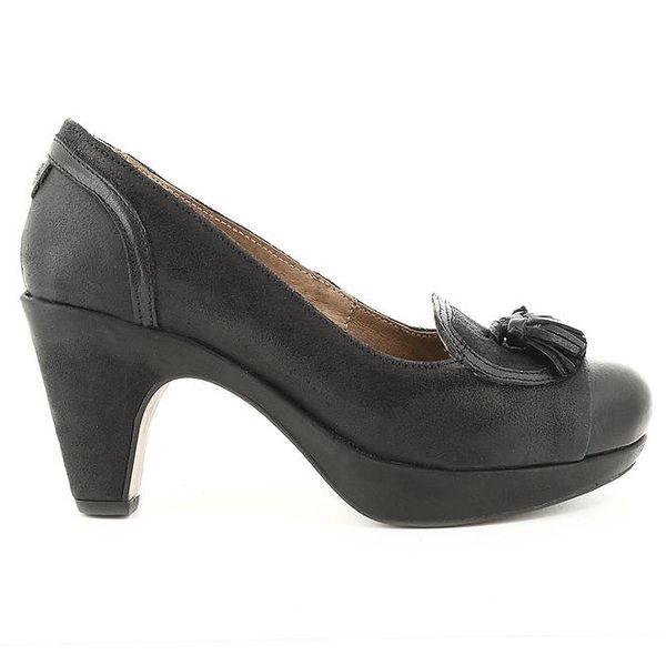 Dámské černé kožené lodičky na podpatku Cubanas Shoes