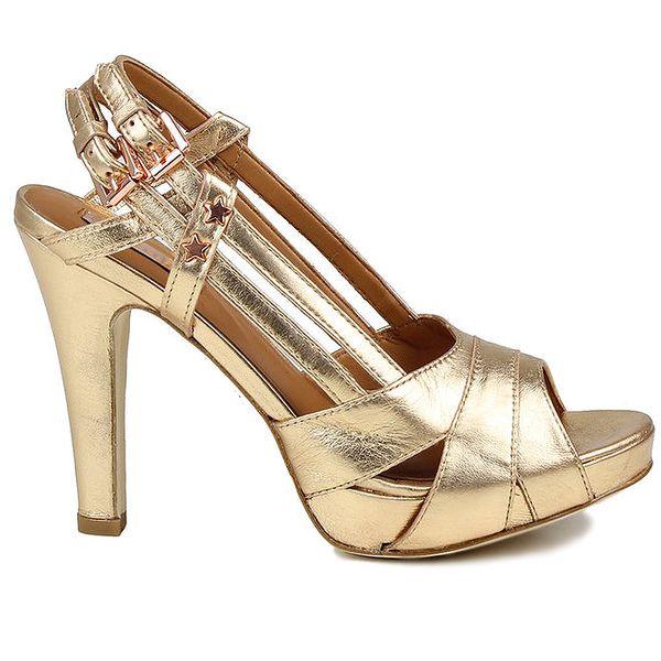 Dámské zlaté kožené sandálky Cubanas Shoes
