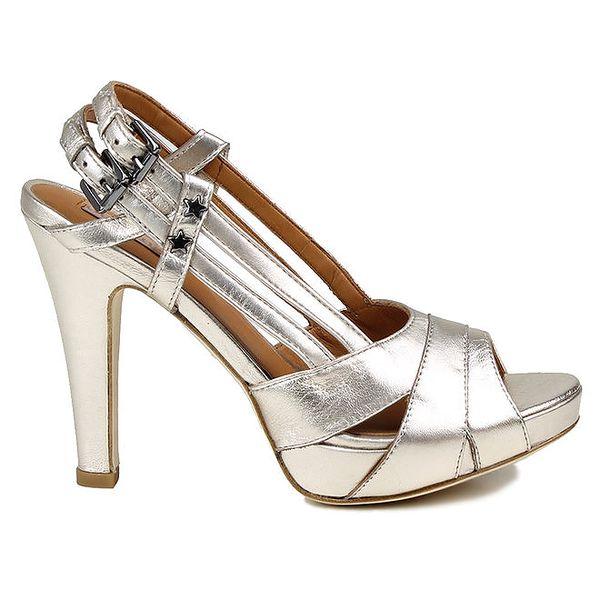 Dámské stříbrné kožené sandálky Cubanas Shoes