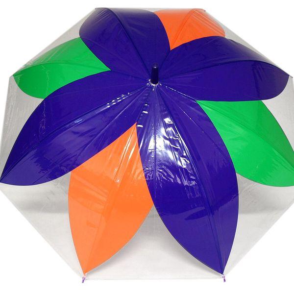 Dámský průhledný vystřelovací deštník fialová purpura