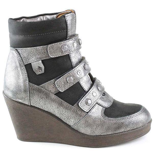 Dámské černé kožené boty na klínku Cubanas Shoes
