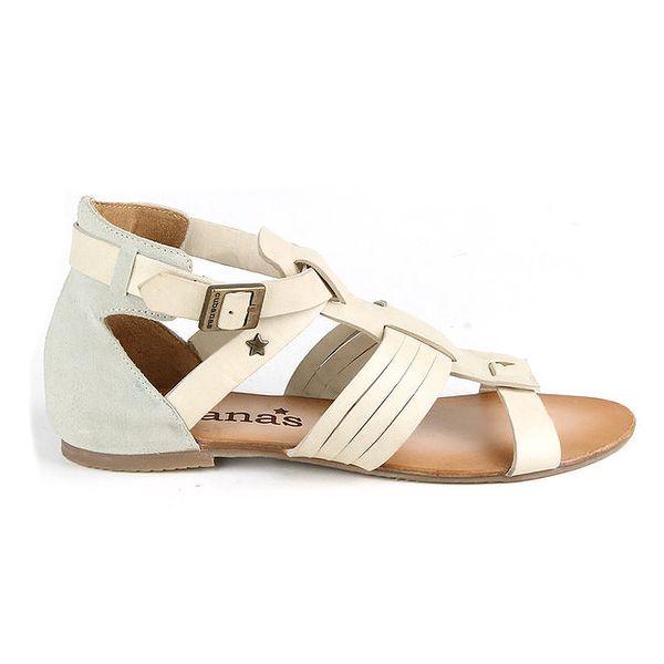 Dámské krémově bílé páskové boty z kůže Cubanas Shoes